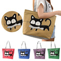 2015 Hot Sale, 1PC New Trend American Apparel Women Bags Cute Canvas Shoulder Bag Cat Print Casual Messenger Shopping Bag