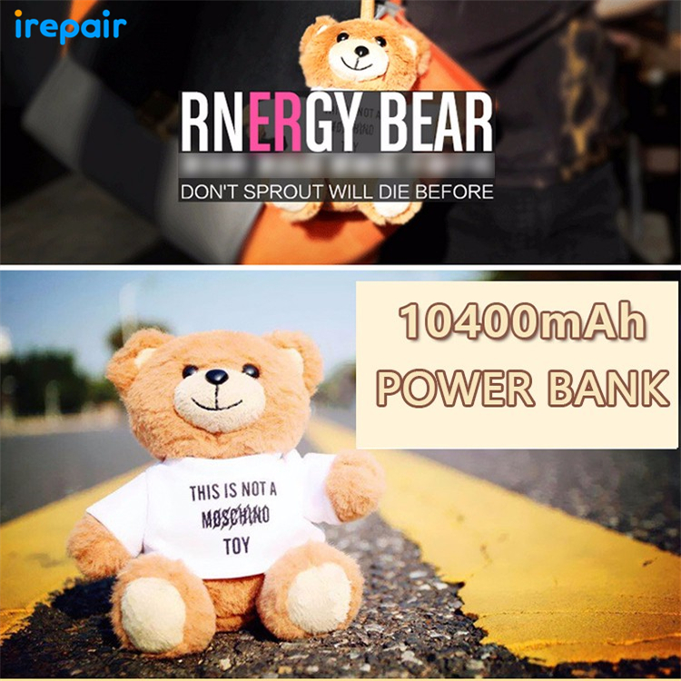 Fashion Bear Portable Power Bank 10400MAH Strong Clip Charge with Clothes For iPhone for Samsung girl birthday Festival gift