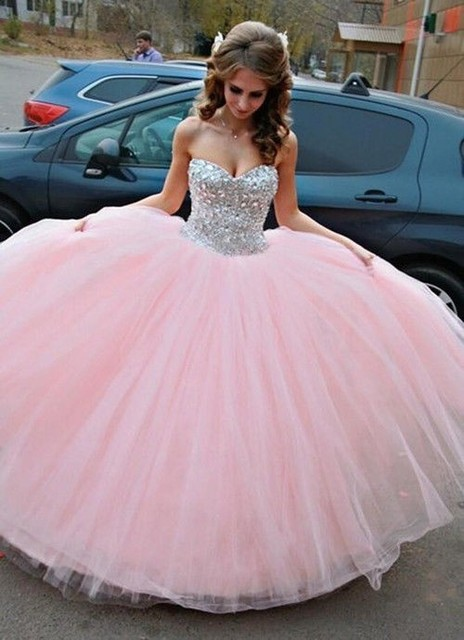 2017 Pink Sweet 16 Dresses Ball Gowns Sweetheart Floor Length With Sparkle Crystal Quinceanera Dresses Tulle vestidos