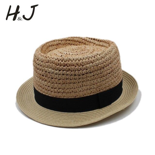 93a3fda676982e Summer Women Men Raffia Handwork Beach Sun Hat For Elegant Lady Flat Top Fedora  Cap Gentleman Boater Dad Prok Pie Panama Hat