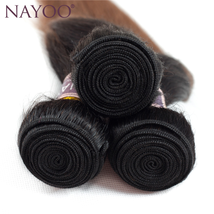 NAYOO Ombre Peruvian Straight Färgade Non-Remy Human Hair Weave - Mänskligt hår (svart) - Foto 3