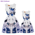 Casual Family Matching Outfits Vintage Mother and Daughter Dresses Clothes Summer Floral Print Sleeveless Teenage Girls Clothing