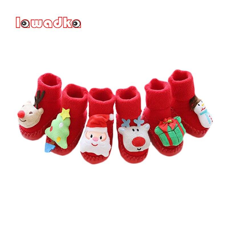 Lawadka Christmas Baby Socks With Rubber Soles Infant Sock Newborn Winter Baby Floor Socks Shoes Anti Slip Soft Sole Socks