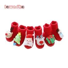 Lawadka-chaussettes de noël pour bébés, avec semelles en caoutchouc, pour nourrissons et nouveau-nés, chaussettes d'hiver à semelles souples antidérapantes