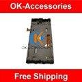 Preto color touch screen digitador + lcd com frame para o htc 8x c620e 1 pc/lot