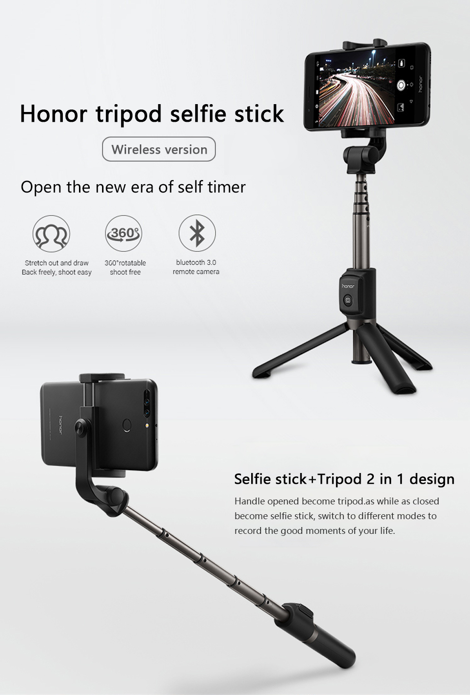 Original Huawei Honor AF15 Selfie Stick Tripod Bluetooth 3.0 Monopod Extendable Handheld Selfie Stick Tripod for IOS Android (1)