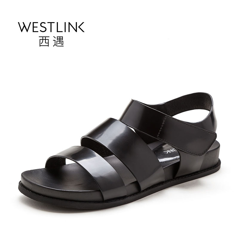 ФОТО Westlink Cow Leather Hook&Loop Casual Flat Rome Gladiator Sandals Women Peep Toe Shoes Black 2017 Spring New