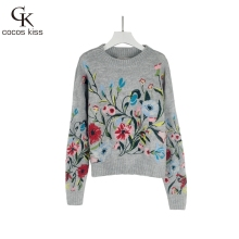 High Quality  2017 New Arrival Casual Grey Flower Embroidery O-neck Long Sleeved Pullover Woman Sweater