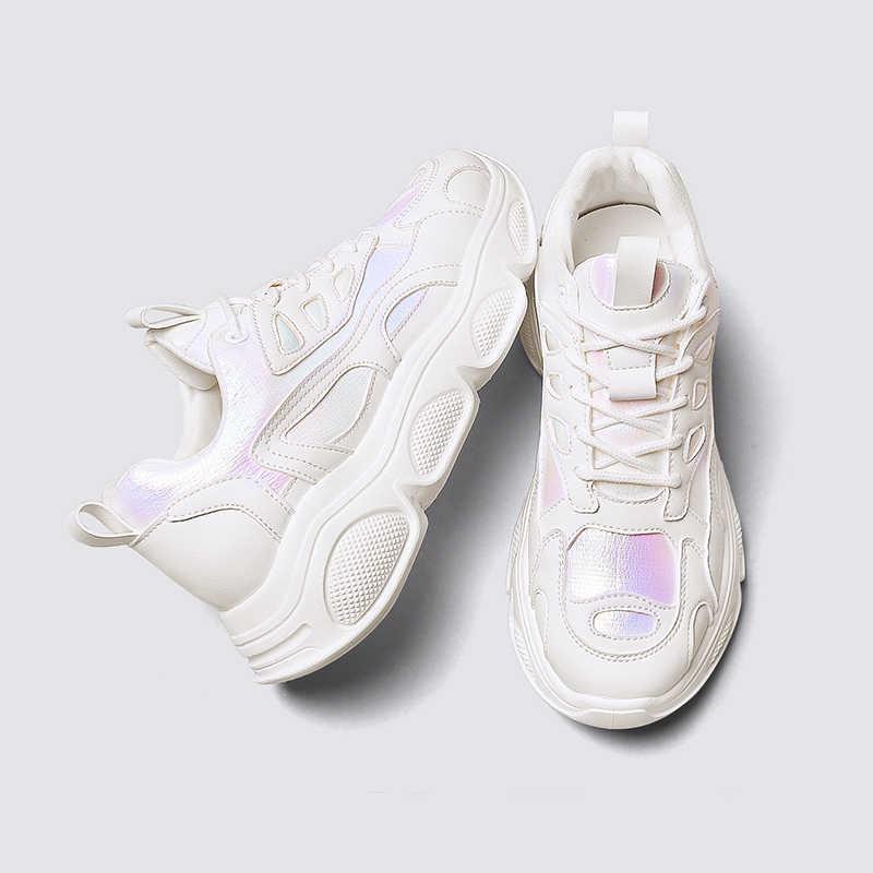 2019 ตะกร้า Femme รองเท้าผ้าใบผู้หญิงสีขาวแฟชั่นหนาด้านล่างสตรีแพลตฟอร์มรองเท้าผ้าใบสีชมพู PU รองเท้าหนังรองเท้า Vrouw