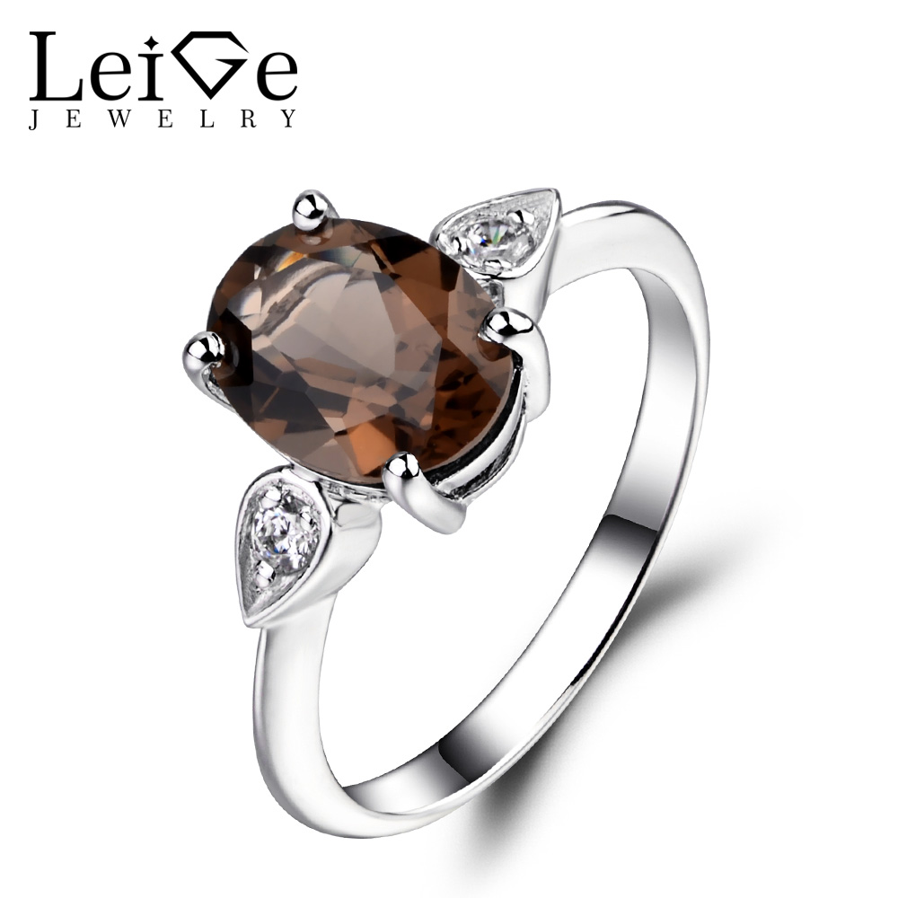 Leige Jewelry Natural Smoky Quartz Ring Oval Shaped Wedding Engagement Rings for Women Sterling Silver 925 Fine JewelryLeige Jewelry Natural Smoky Quartz Ring Oval Shaped Wedding Engagement Rings for Women Sterling Silver 925 Fine Jewelry