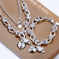 Free Shipping Wholesale Fashion Jewelry Set,Heart Lock 2 Piece set,925 Sterling silver Necklace&Bracelet&Earrings T071