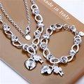 Frete Grátis Atacado Set Bijuterias, Coração de Bloqueio 2 Peça set, 925 Colar de prata Esterlina & Bracelet & brincos T071