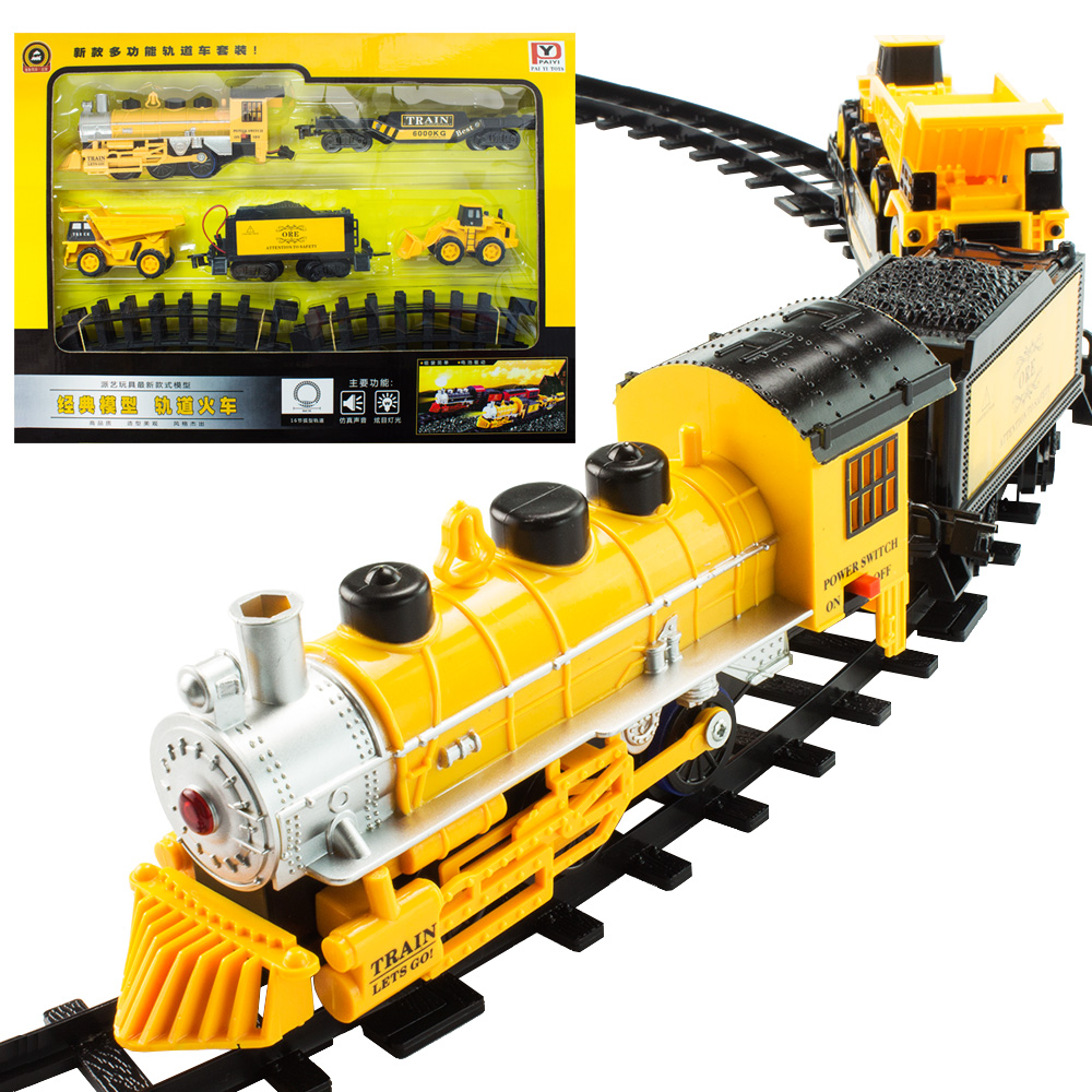 цена на 2017 Hot Sale Train track rail car engineering car electric bicycle toy model train carro de controle remoto a gasolina Kids Toy