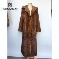 FURSARCAR Natural Mink Fur Coat Women With Turn down Suit Collar 120 CM Long 2018 New Winter Real Mink Fur Female Coat Hot