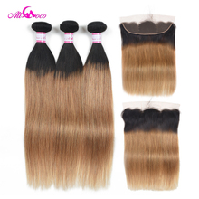 Ali Coco Brazilian Straight Hair 2/3/4 Bundles With 13X4 Lace Frontal 1B/27 8-30 Inch 100% Remy Lace Frontal With Closure