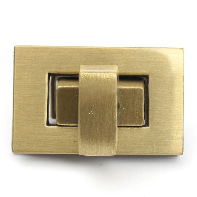 New Rectangle Shape Clasp Turn Lock Twist Diy Leather Handbag Bag Hardware Bronze