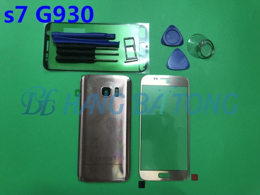 Original Lentille En Verre D'écran Avant pour Samsung Galaxy S7/S7 Bord G930F G935F Arrière Porte De Couvercle De Batterie de Logement Arrière avec Adhésif
