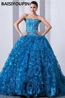 Plus Size Quinceanera Dresses Vestidos Para 15 Anos Princesa 2019 Blue Organza Ball Gown Sweet Sixteen Dress