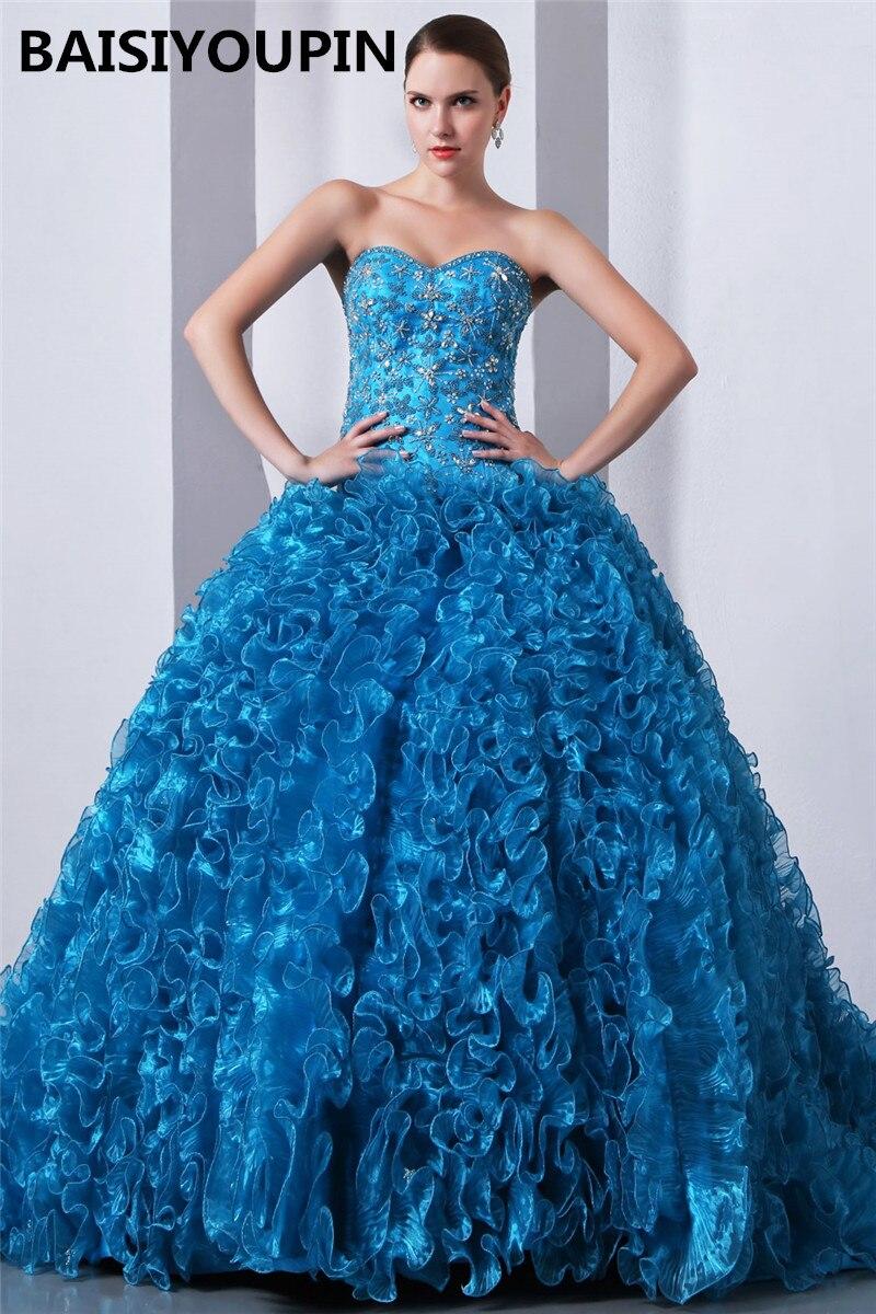 Robes Quinceanera grande taille Vestidos Para 15 Anos Princesa 2019 robe de bal en Organza bleu robe douce seize
