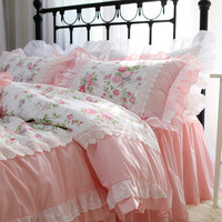 Romantic Embroidery bedding set rose print bedding ruffle lace bed set princess king bedding set cotton duvet cover set queen