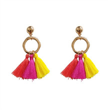 Temperament is contracted circular color delicate tassel earrings atmosphere vogue female women
