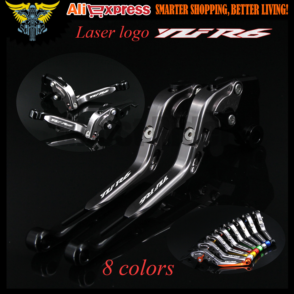 Motorcycle Brake Clutch Levers With Logo(YZF R6) For Yamaha YZF R6 2005 2006 2007 2008 2009 2010 2011 2012 2013 2014 2015 2016 motorcycle fender eliminator tidy tail for yamaha yzf r1 yzf r1 yzfr1 2004 2005 2006 2007 2008 2009 2010 2011 2012 chrome