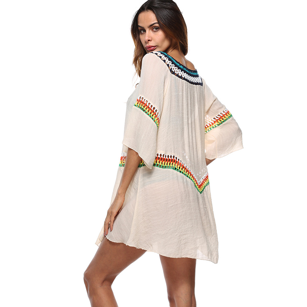 High Quality Sunscreen Breathable Cover Up Women Swimwear Beachwear Loose Blouse Summer Bikini Cover Up Swim Dress Robe De Plage