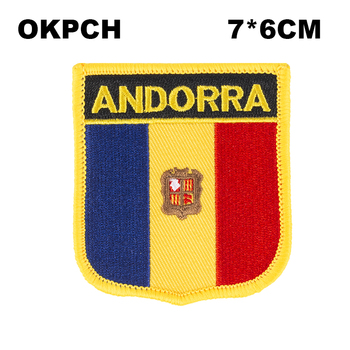 Andorra Shield Shape Iron-on Flag Patch Embroidered Saw on Badges Patches for Clothing PT0014-S image