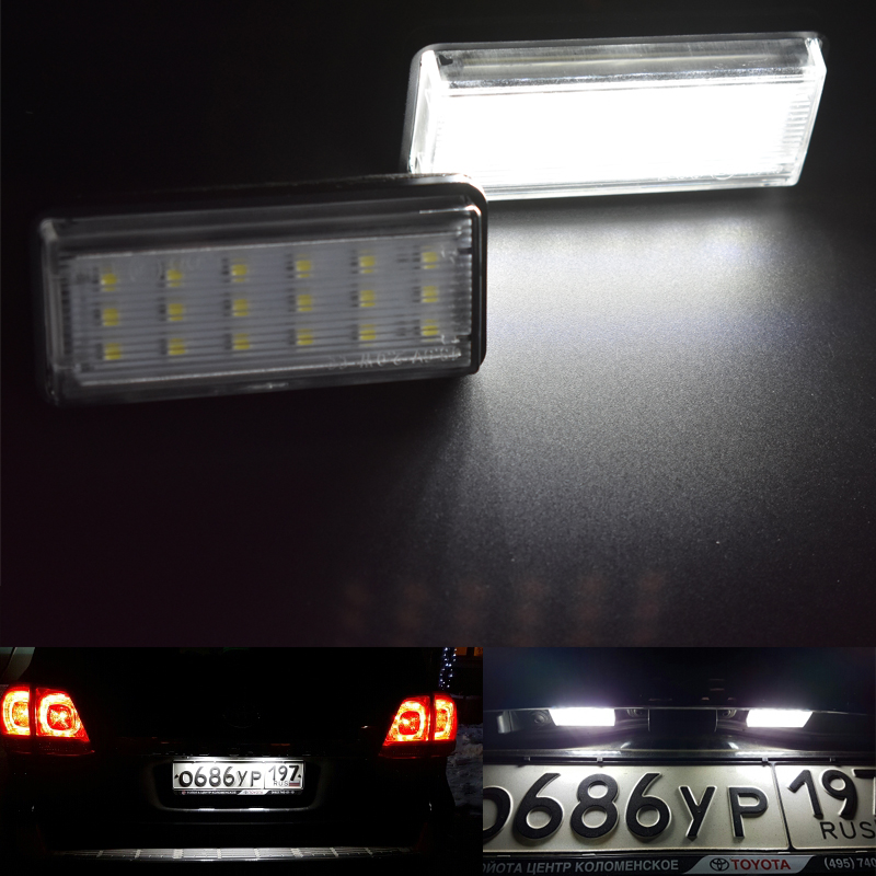 For Toyota Land Cruiser 120 Prado Land Cruiser 200 Lexus GX470 Car styling No Error LED White rear number plate light auto lamp auto electric window main switch for toyota camry prius land cruiser venza lexus ct200h 84040 02050 8404002050