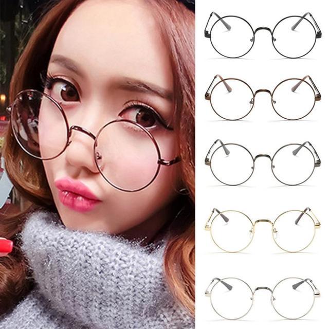 Hot Retro Oversized Óculos Redondos Coreano Mulheres Homens de Óculos De Ouro Quadro Óptica Óculos de Armação de Lente Clara Do Vintage Óculos