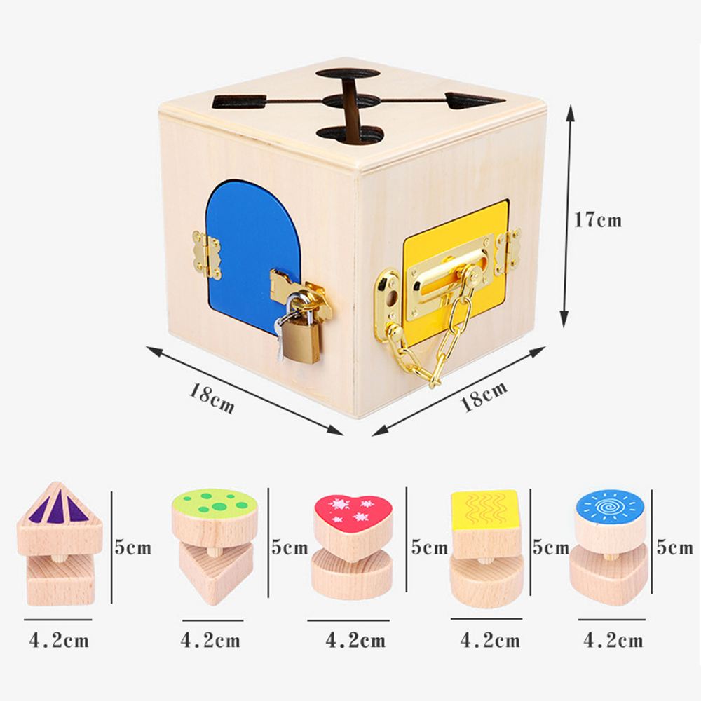 Montessori jouets serrure boîte Montessori éducatif en bois jouet bois jouets sensoriels Montessori matériaux 3 ans enfants jeux cadeaux - 5