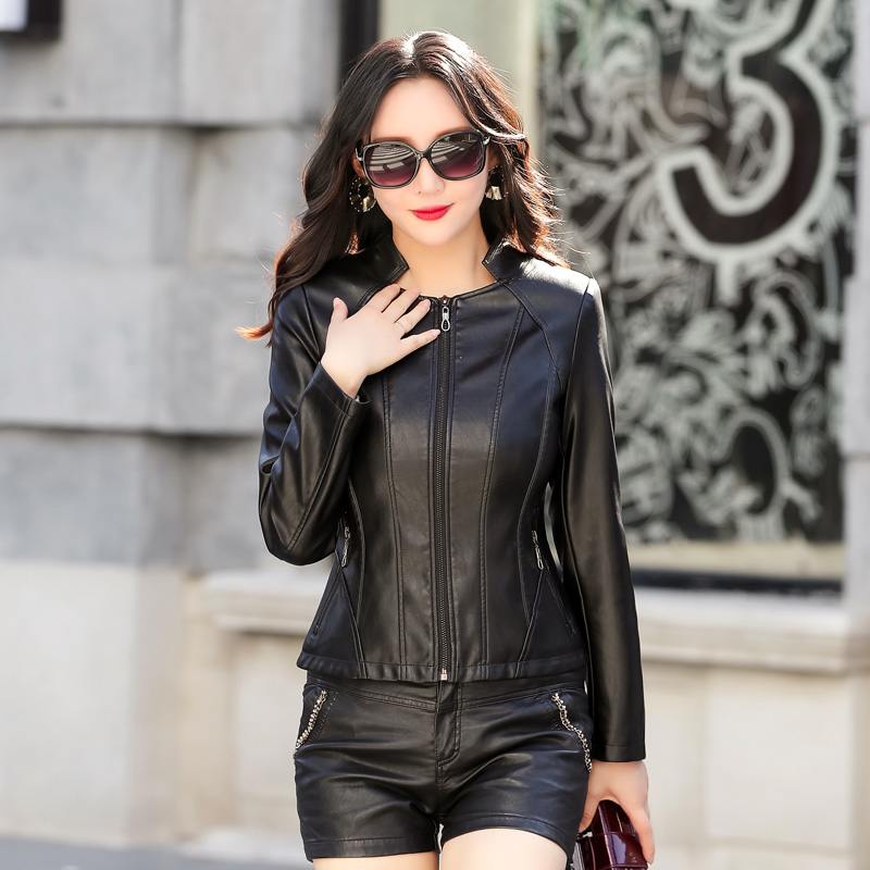 2019 New Women Elegant Slim Faux   Leather   Jackets Ladies Red Soft   Leather   Coat Plus Size 5XL Female PU   leather   Zippers Clothing