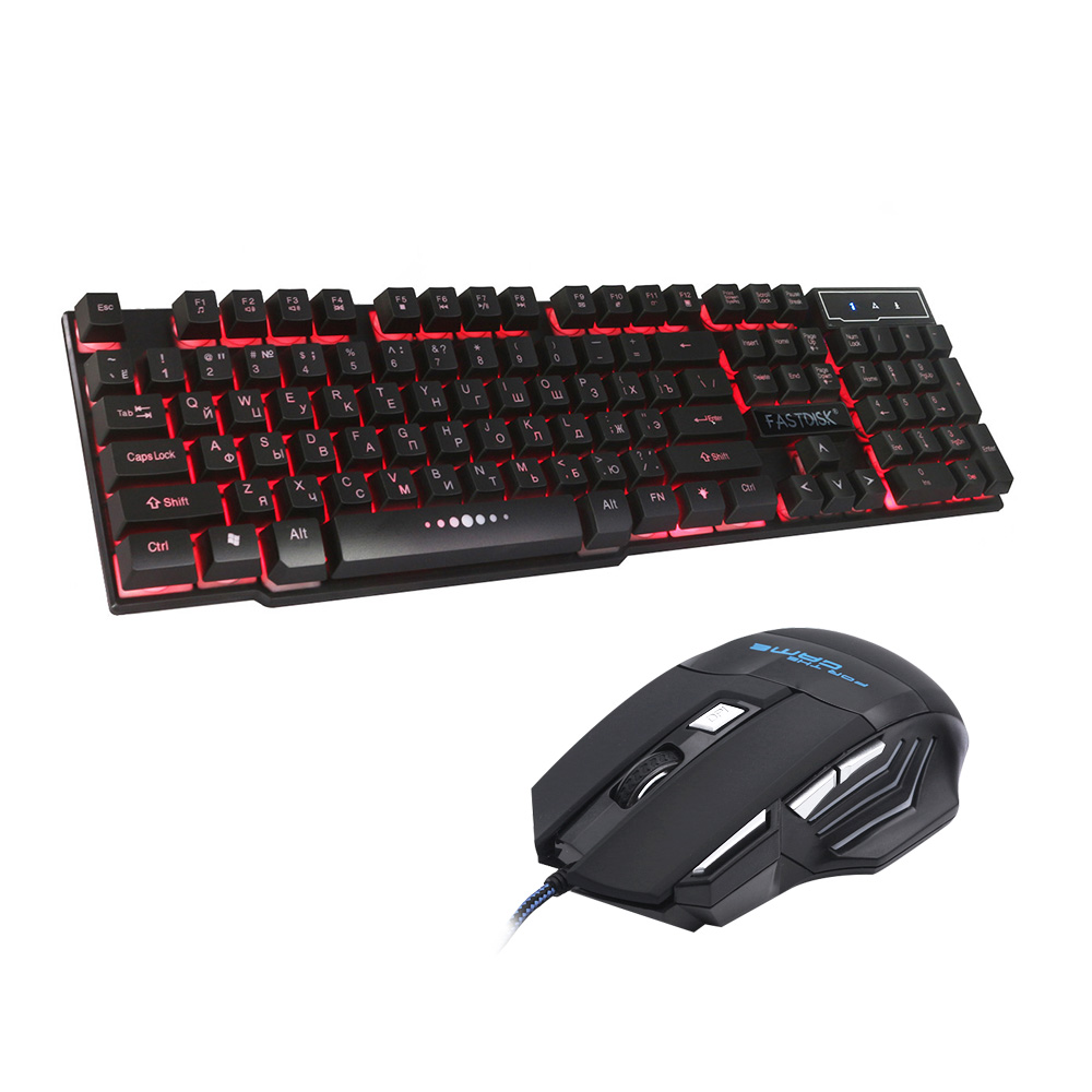 FASTDISK Russian English 3 Color Backlight Gaming Keyboard Teclado Gamer Floating LED Backlit USB Similar With 7 Button Mouse