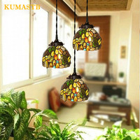 New Stained Glass Grapes Chandeliers European Garden Creative Dinning Room Lamp Handmade Color Glass Deocration Grapes Light