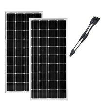 лучшая цена Solar Panels Kit Solar Panel Module 12v 100w 2 Pcs Zonnepaneel 200W Battery 2 In 1 Connector Camping Caravan Motorhome Boat