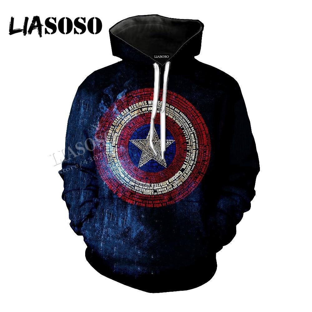 LIASOSO Neutral Pullover Marvel Movie 3D Print Captain America Logo Jacket / coat / Hat coat / Zip Hoodie CX069