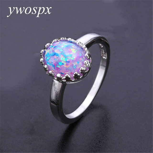 Elegant round purple fire opal ring jewelry refers to wedding wedding silver color rings for women gifts sz 6 7 8 9 10 Y-30