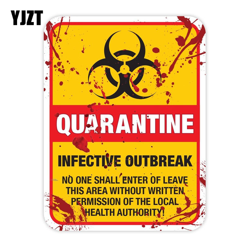YJZT 15x20CM Funny ZOMBIE Warning Quarantine Infected Area Caution Retro-reflective Car Sticker Decals C1-8023
