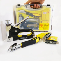 Nail Staple Gun With Puller Staple Remover & Stapler For Wood Furniture Upholstery With 1200 Pins And Quality Storage Box