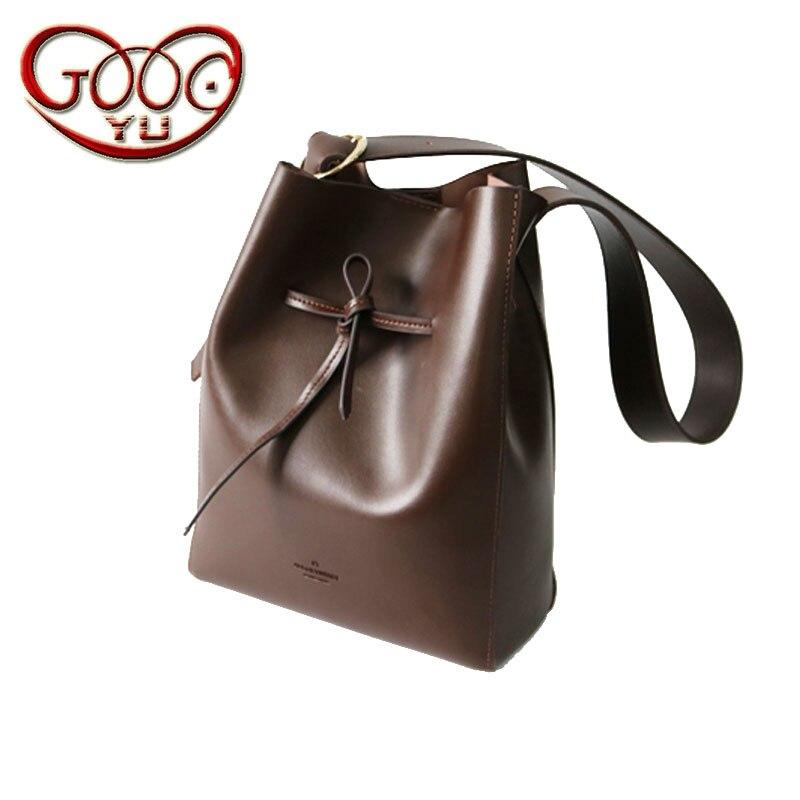 Women's brown leather casual large-capacity bucket bag fashion wild large-capacity shoulder Messenger bag тканевый пенал large capacity bag