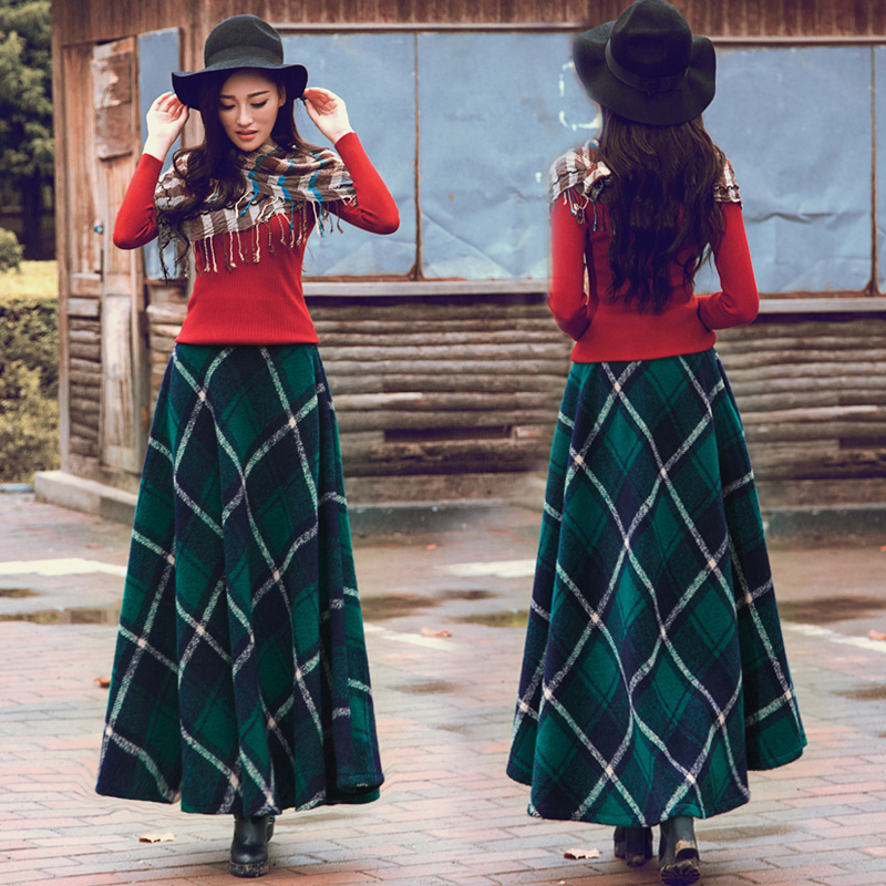 Aliexpress.com : Buy New fashion color block long wool skirt high ...