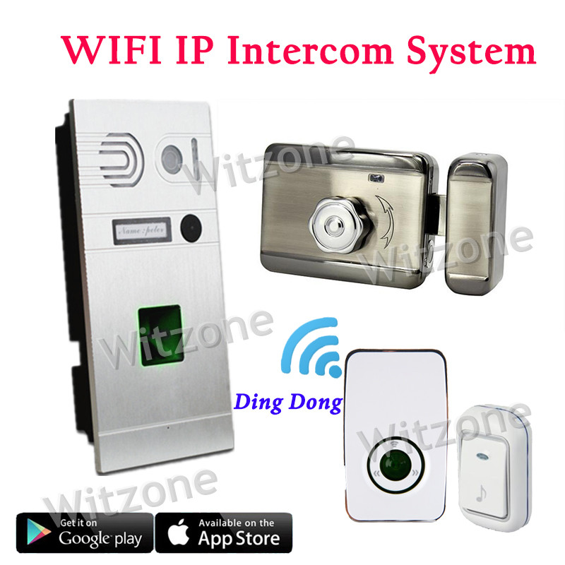 Whole Set IP WIFI Video Doorphone System Door Entry System Fingerprint Doorbell Camera Magnetic Lock Door