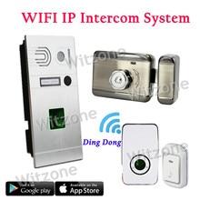 Whole Set IP WIFI Video Doorphone System Door Entry System Fingerprint Doorbell Camera+Magnetic Lock+Door Chime+Doorbell Button
