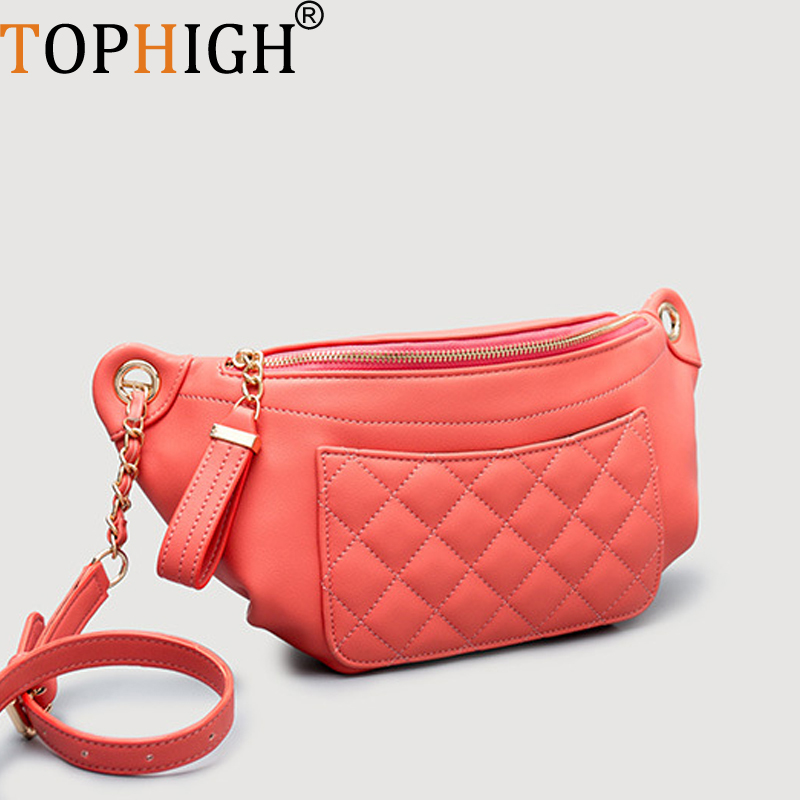 TOPHIGH High Quality Leather Waist Pack Fanny Pack Bum Belt Bag Women Pouch Pochetes Bolso Cintura