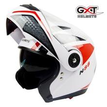 otorcross Fashion  flip up Moto Helmet sun visor safety Double Lenses Motorcycle Helmet certified Motorbike helmet GXT 370