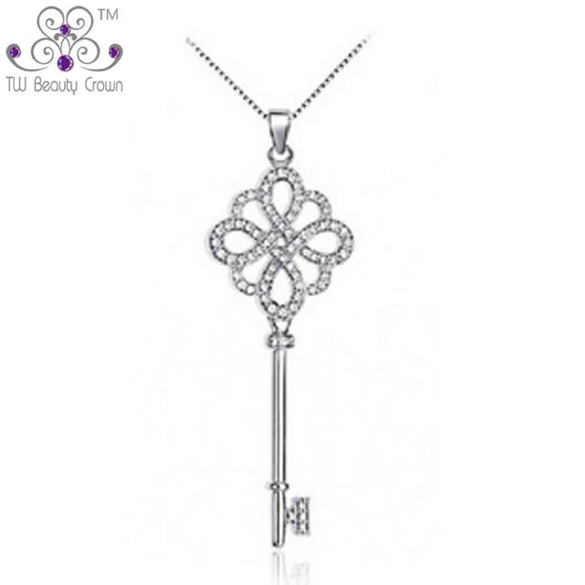 bf7898b46 Real 925 Sterling Silver Micro Inlays Vintage Key Design White Cubic  Zirconia Pendant Necklaces For Women