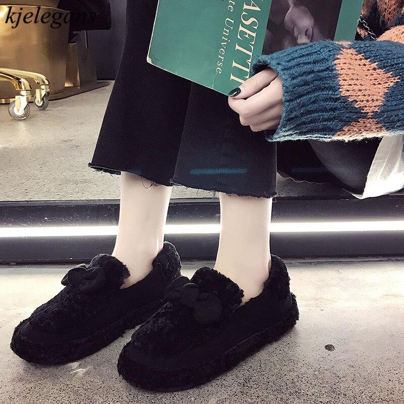 Hiver Peluche Noir Bowknot Mujer Femme En kaki Léopard marron Fourrure Paresseux Zapatos Appartements Troupeau Chaussures Classique Chaud De Confortables 2018 Kjelegans Femmes zfwHqq