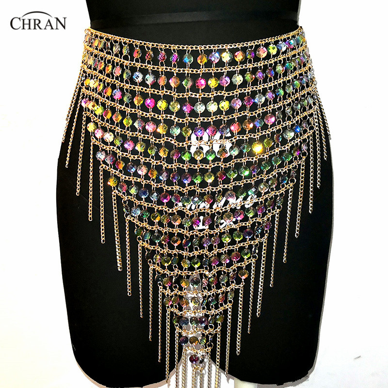 Chran Acrylic Gem Skirt Belly Dancer Waist Belt Party Chain Necklace Bra Bralete Festival Fringe Dress Wear Ibiza Jewelry CRS425 dancer feather faux pearl waist belt chain