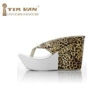 Mujer nueva moda de verano plataforma 10 cm cuñas de tacón alto flip flop zapatillas sandalias de leopardo de impresión de gran tamaño, más 40-43