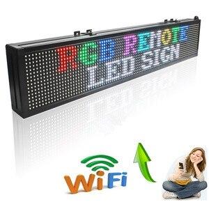 Image 2 - 30x6 in 16*96 픽셀 무선 wifi rgb 풀 컬러 p7.62 실내 led 메시지 기호 이동 스크롤 디스플레이 보드 쇼핑 및 창